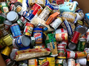Pile of food donations