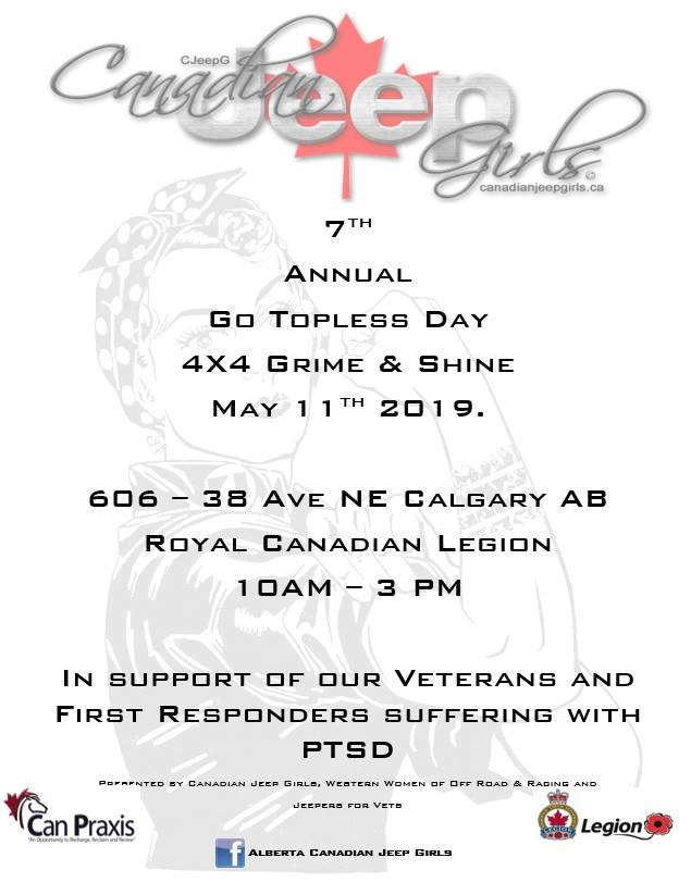 Poster for 7th Annual Jeep Girls Go Topless Day event.
